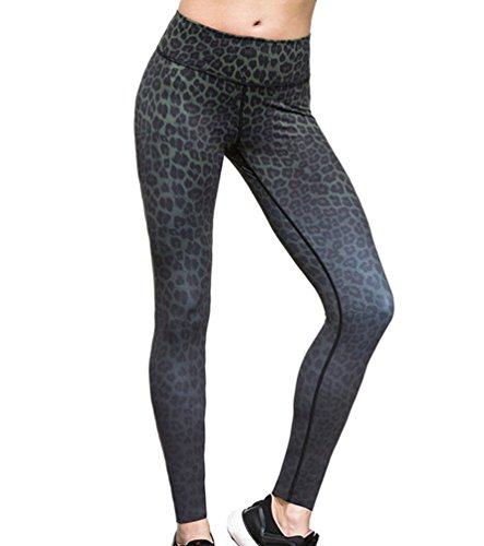Moorui Damen Yoga Leggings Leopard Muster Workout Gym Tights Fitness Lounge Sporthose Schwarz S
