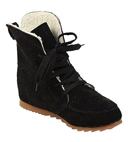 Minetom Femmes Automne Hiver Style britannique Bottes de Neige Cheville Chaudes Fourrure Antidérapant Chaussures Plates Bottines À Lacets Noir Coton EU 37