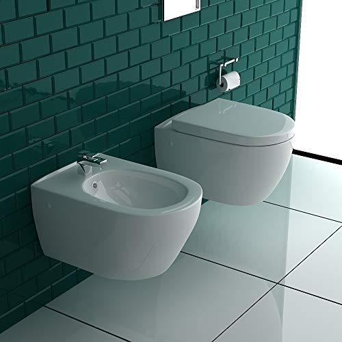 Alpenberger Tiefspüler-Hänge-WC&Bidet mit Überlaufschutz&Quick-Release D-Form WC-Sitz mit Absenkautomatik | Komplett-Set | Kein Überspritzen durch innovative Wasserführung | passend zu GEBERIT