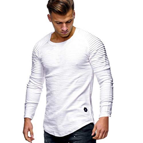 DAYSEVENTH MEN-TOPS Clearance Men's Casual Tops Long-Sleeved T-Shirt Solid Color Fold Round Neck Blouse (White, CN L(UK 10))