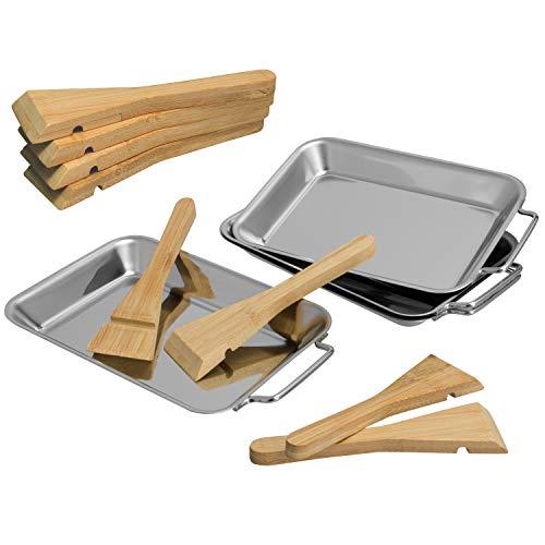 Grillpfanne (bremermann Grillpfanne inkl. Bambus-Schabern, Edelstahl (4er-Set))