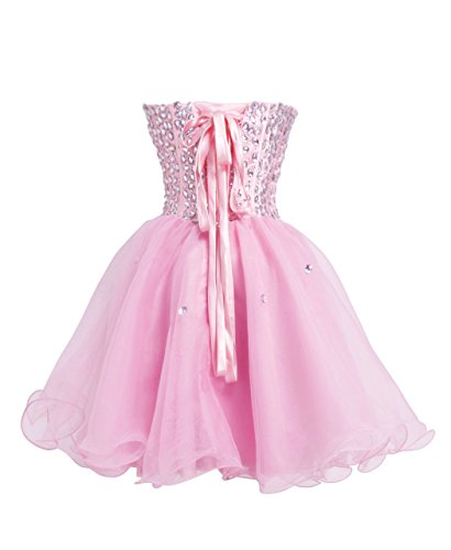 FAIRY COUPLE Trägerlosen Cocktail Straßstein Kleid D0147 Rosa