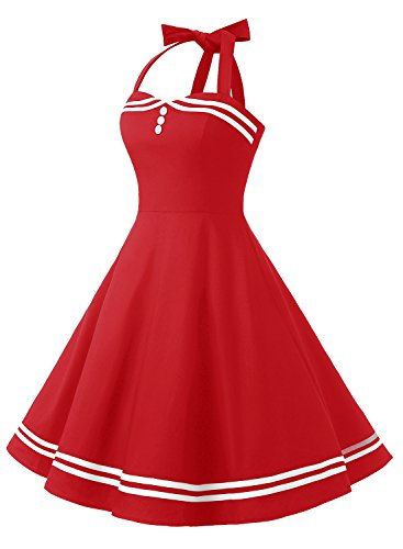 Timormode Rockabilly Kleider Neckholder 50s Vintage Kleid Retro Knielang Kleider Damenkleider Festlich Cocktailkleider 10387 Rot XS - 2