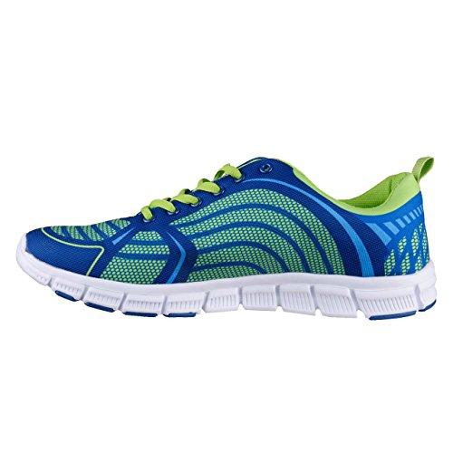HSM , Chaussures de course pour homme Bleu/Citron vert