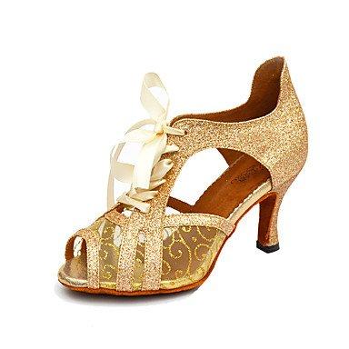 Silence @ Chaussures de danse pour femme Salsa en similicuir/paillettes scintillantes Stiletto Talon Noir/blanc/doré blanc