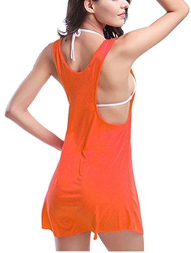 Femme Bretelles Top Couleur Unie De Plage Bikini Cover Up Maillot De Bain Orange