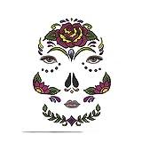 HROIJSL Halloween Gesichtsaufkleber Halloween temporäre Gesicht Kunst wasserdichte Maske Sugar Skull Tattoo Beauty Sticker Halloween-Deko Halloween Dekorationen Halloween Requisiten Dekorationen
