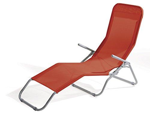 VERDELOOK Lettino Riccione da Spiaggia, Dimensioni 94x58x82 cm, Colore Rosso