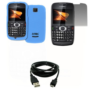 EMPIRE Light Blau Gummierte Harte Case Tasche Hülle Cover + Displayschutzfolie Film + USB Datenkabel Data Cable for Boost Mobile Motorola Theory X430 Boost Mobile Motorola
