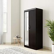 Amazon Brand - Solimo Vega Engineered Wood 2 Door Wardrobe with Drawer & Full Mirror (Espresso Fin