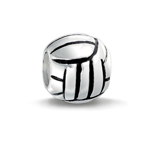 Volleyball Beach Ball Sport Team Charme Raupe Frauen Teens oxidiert 925 Sterling Silber passt Europäischen Armband