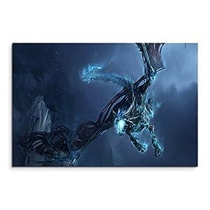 World of Warcraft Ice Dragon Wandbild 120x80cm XXL Bilder und Kunstdrucke auf Leinwand