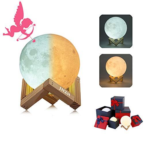 3D Mond Lampe Nachtlampe, Farbwechsel durch Berührung, USB Wiederaufladbar, Mondlicht, Nacht Licht, mit Hölzernem Standfuß, für Freunde,Weihnachten, Geburtstag, Kinder, Schlafzimmer (20CM/7.8 in)
