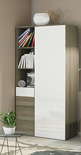 Piushopping - Armadio design con 1 anta 4 cassetti 3 mensole per camera da letto o soggiorno