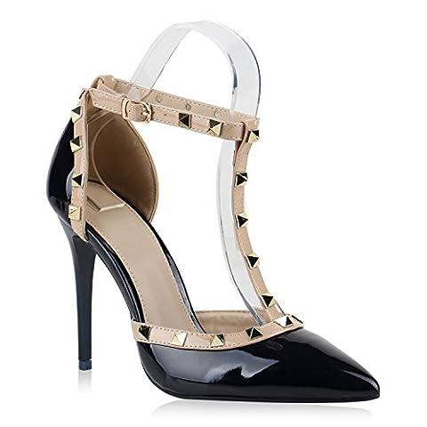 Damen Spitze Pumps Stiletto High Heels Hochzeit Braut Abiball Abend Nieten Slingpumps Damen Schuhe 144168 Dunkelblau Nieten 38 | Flandell®