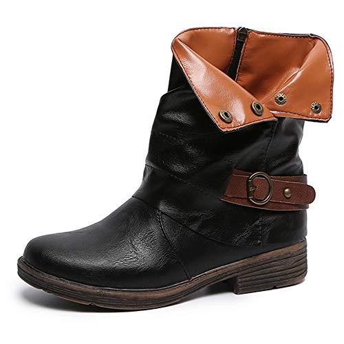 Yvelands Damenstiefel Stiefeletten Damen Herbst Winter Aushöhlen Stiefeletten Damen Heel Halb Stiefel Schuhe Casual Boots ()