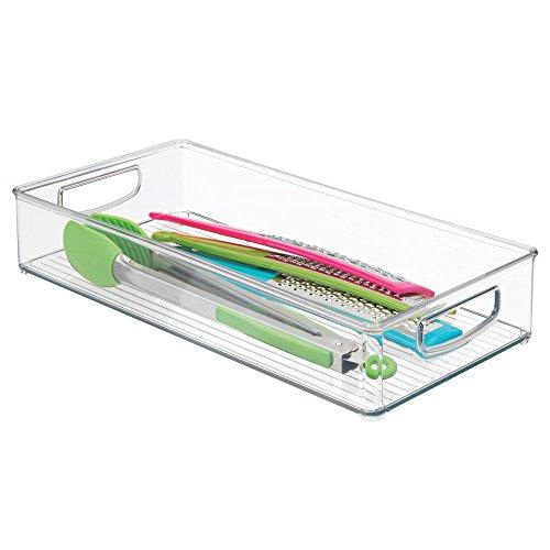 sbox für die Küche, langer Küchen Organizer aus Kunststoff, offene Kühlschrankbox mit Griffen, durchsichtig ()