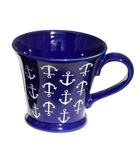 Ceylon Studio Anchor blau - tiefes Marineblau & Weiß nautisches Anker-Design Premium Qualität handbemalt Keramik Tee/Kaffee/Heiße Schokolade Tasse - große Tasse/Espressotasse & Untertasse, Large Mug