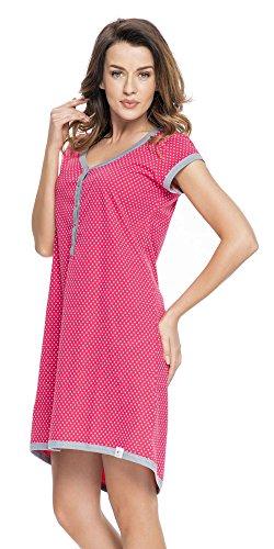 dn-nightwear Damen Umstandsnachthemd/Stillnachthemd aus 100% Baumwolle