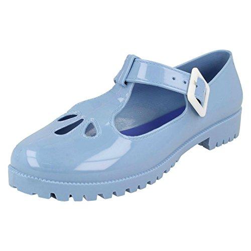 Femmes Spot On Chaussures Bout Fermé Jelly Bleu clair