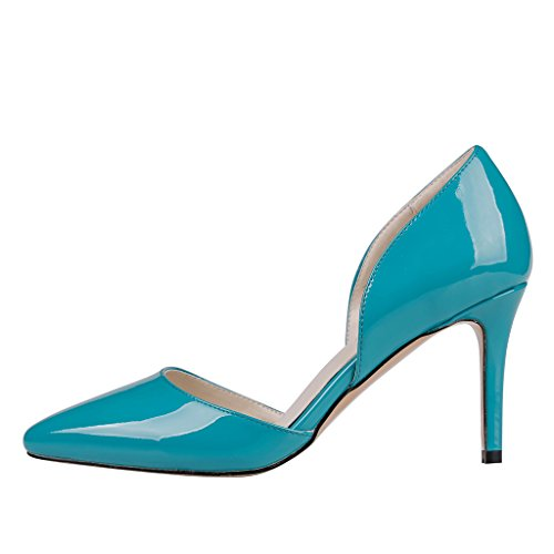 EKS Damen Spitze Middle Heels Pumps Blau-Lackleder