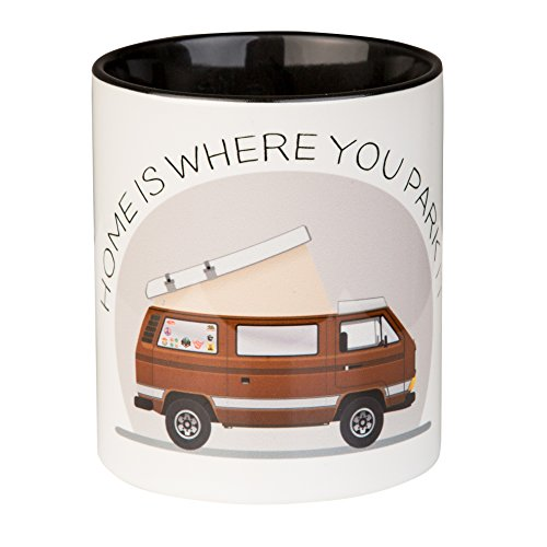 Kaffeepott HOME IS WHERE YOU PARK IT für Camper, Vanlifer und VW Bulli Liebhaber - mit coolem T3...