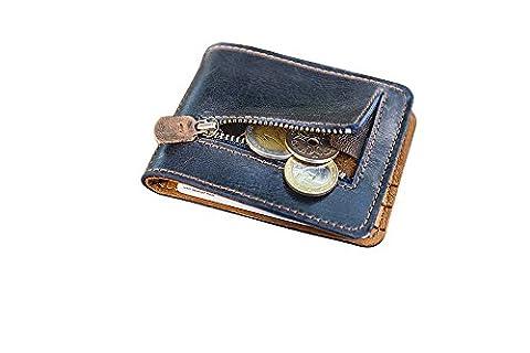 Porte-monnaie en cuir pour hommes femmes. Portefeuille en cuir (Blue-tobacco)