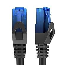 KabelDirekt - 30m - Cavo di rete, Ethernet e cavo Lan - (trasmette fino a 1 Gigabit al secondo ed è adatto per switch, router, modem con ingresso RJ45, nero-blu)