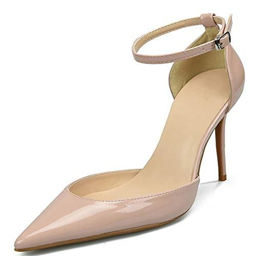 Lindarry Knöchelriemen Sandalen für Frauen Stöckelschuhe mit hohem Absatz Spitze Zehe Patent PU Seiten geschnitten Schuhe für Damen Mode (Color : Nackt, Size : 41 EU) -