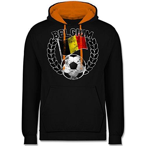 Fußball-WM 2018 - Russland - Belgium Flagge & Fußball Vintage - Kontrast Hoodie Schwarz/Orange