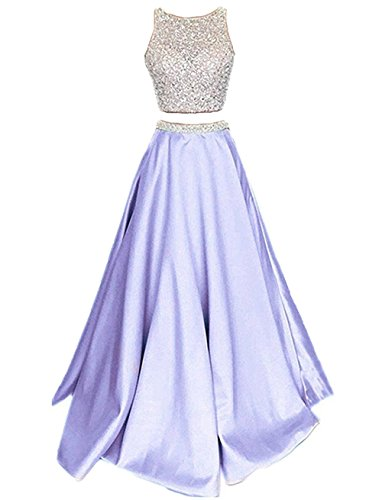 Callmelady Satin Zwei Stück Ballkleider Lang Abendkleider Damen Abiballkleider (Lavendel, EU36)