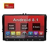 Android 8.1 9' Radio Coche 2 DIN 2GB+32GB con Pantalla Táctil para VW, Autoradio Reproductor con 4G/GPS/Bluetooth/WiFi/DSP, Apoyo Control Volante y Aparcacimiento