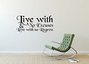 Smarts-Art Live with no excuses wall art quote saying 3 sizes lots of colour choice;White-1000mm x 462mm