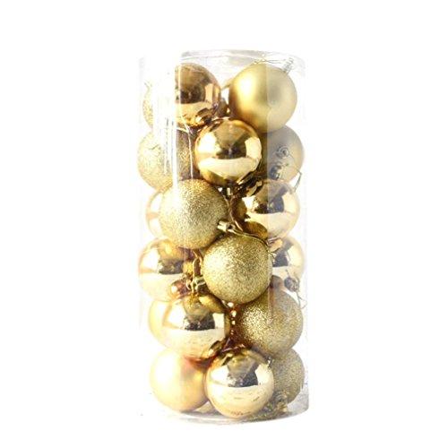 24pcs glänzend und poliert glänzend Weihnachtsbaum Ball Ornamente Dekorationen 2.4 1 Fässer mit 24 Weihnachtskugeln 6cm Weihnachtskugeldekoration HKFV (Gold)