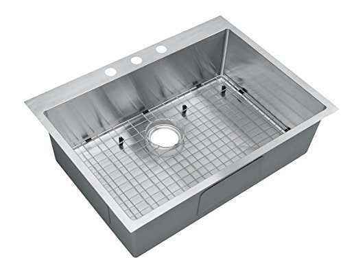 Starstar 30 Inch Top-mount / Drop In Stainless Steel Single Bowl Kitchen Sink 16 Gauge with Accessories by Starstar - Gauge Bowl Kitchen Sink Single 16