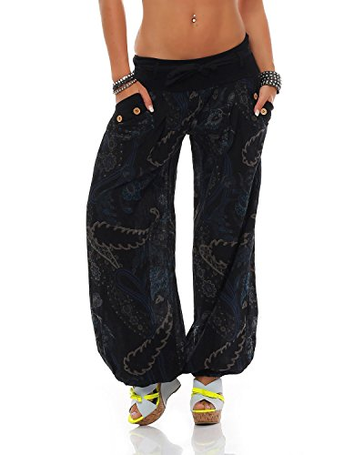 71643e9990 ZARMEXX Donna Pantaloni Harem Pants Pantaloni estivi A sbuffo Aladino  Pantaloni da spiaggia Ornamento-stampa Pantaloni in cotone - Nero, ...