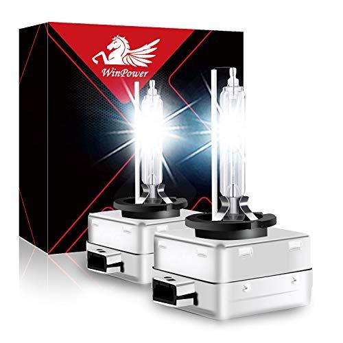 WinPower D1S Bixenon 35W Luz Xenon Bombilla HID Kit Faro Lámpara de descarga gaseosa 12V Coche 6000K White Xtreme Vision (2 Bombillas)