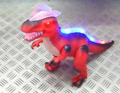 Image of R/C Remote Control Dinosaur, Walks, Roars, Lights Up. red