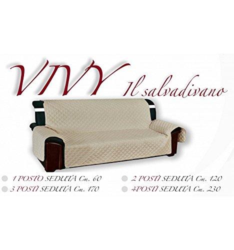 Tex Family Vivy Housse de protection matelassée pour canapé 3 places avec assise de 170 cm de long - Écru-
