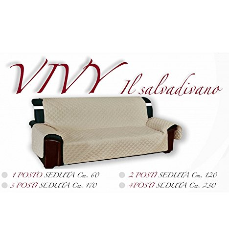 Tex family copridivano beige salvadivano vivy trapuntato piano liscio ecrù - 3 posti seduta cm. 170