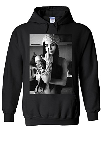 Attitude Tattoo Sexy Girl Novelty Black Men Women Unisex Hooded Sweatshirt Hoodie-M (Sweatshirt Attitude Kids)