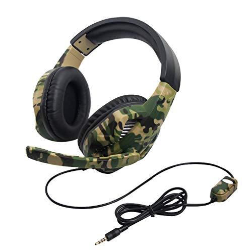 Techting Ersatz für PS4 / PS3 / Switch PC Game Gamer Kopfhörer Tarnung Stereo-Kopfhörer-Kopfhörer tiefen Bass Mikr.Headset (Große Bass-spieler)