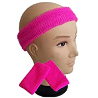 Childrens Kids Neon Headband Sweatband & Wristbands 1980s 80s Fancy Dress (Neon Pink)