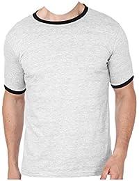 D-RASH Premium Men's Round Neck - Regular International Fit - Short Sleeve Ringer Tshirt -Greymelange