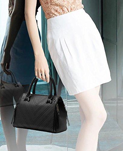 Borsa Donna A Spalla Mano Shopper Pelle Filo Per Cucire Borsa A Tracolla Nero