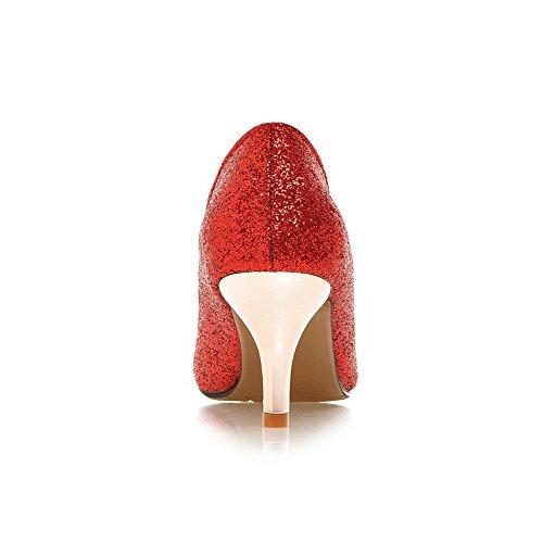 AllhqFashion Femme à Talon Correct Matière Souple Couleur Unie Tire Pointu Chaussures Légeres Rouge