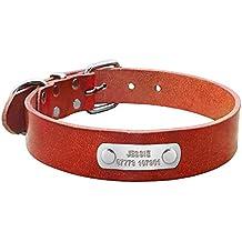 Collar de perro de cuero Berry personalizado, grueso, placa con grabado personalizado, tamaño pequeño, mediano y grande