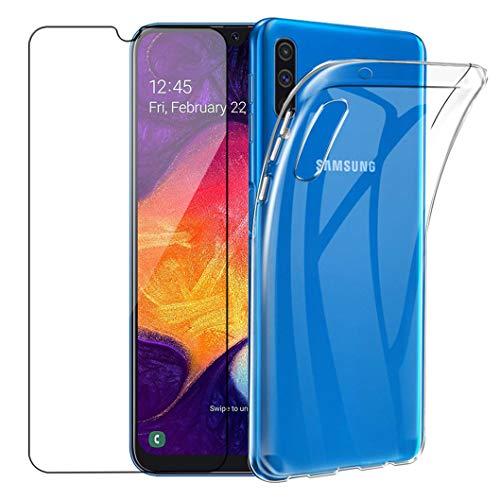 Wanxideng - Funda para Samsung Galaxy A50 + Protectores de Pantalla in Cristal Templado, Carcasa Suave Delgado Claro Funda de Silicona TPU - Transparente