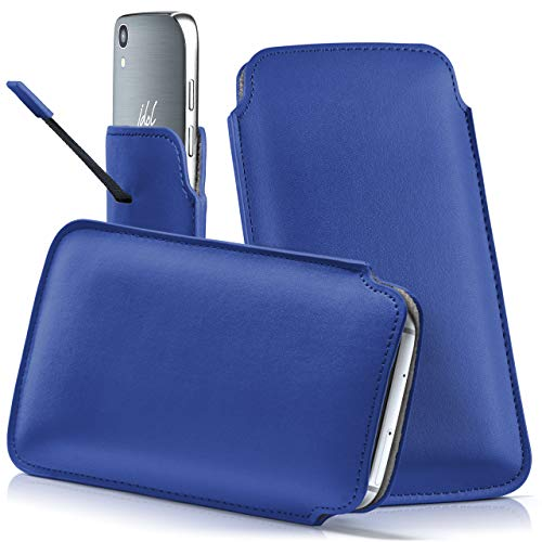 moex Alcatel OneTouch Pop 4S   Hülle Blau Sleeve Slide Cover Ultra-Slim Schutzhülle Dünn Handyhülle für Alcatel OneTouch Pop 4S Case Full Body Handytasche Kunst-Leder Tasche