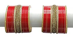 Indian Beautiful Style Crystal Stone Made Bridal Wedding Bangle/Chura Set Partywear Jewelry (2.60 IN)